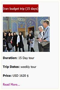 Iran budget tour 15 days